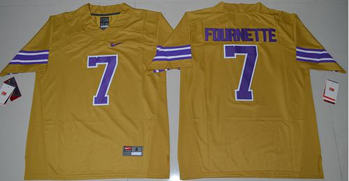 LSU Tigers #7 Leonard Fournette Gridiron Gold Limited Legend Stitched NCAA Jersey