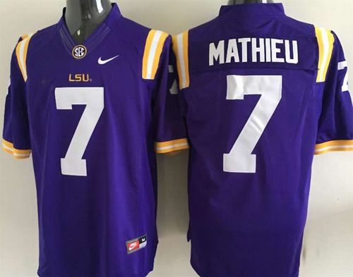 LSU Tigers #7 Tyrann Mathieu Purple Stitched NCAA Jersey