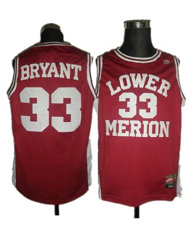 Merion #33 Kobe Bryant Red Basketball Stitched NCAA Jersey