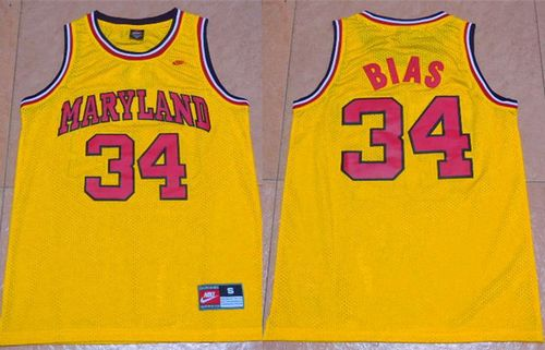 Terrapins #34 Len Bias Yellow Basketball Stitched NCAA Jersey