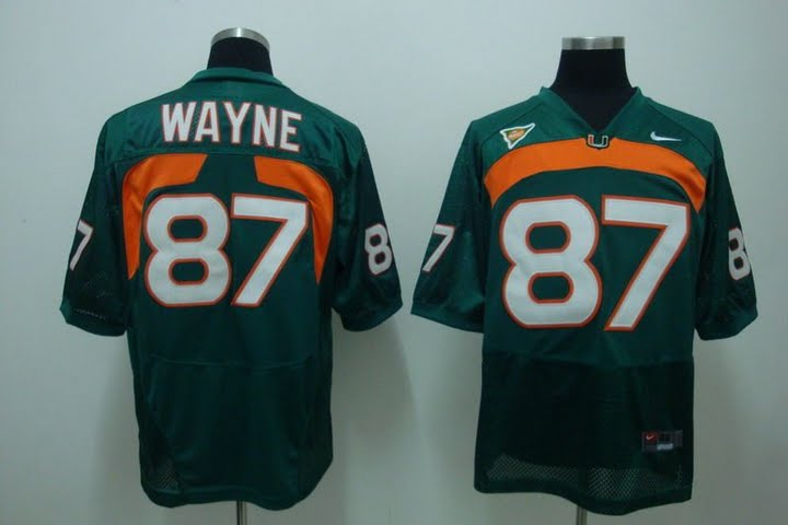 Hurricanes #87 Reggie Wayne Green Stitched NCAA Jersey