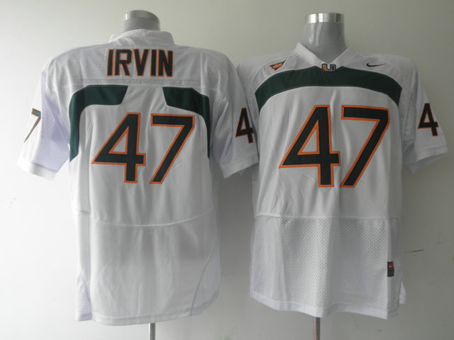 Hurricanes #47 Michael Irvin White Stitched NCAA Jerseys