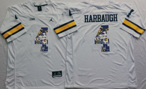 Wolverines #4 Jim Harbaugh White Player Fashion Stitched NCAA Jersey