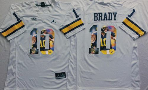 Wolverines #10 Tom Brady White Player Fashion Stitched NCAA Jersey