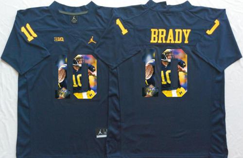 Wolverines #10 Tom Brady Navy Blue Player Fashion Stitched NCAA Jersey