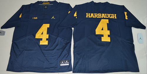 Wolverines #4 Jim Harbaugh Navy Blue Jordan Brand Elite Stitched NCAA Jersey