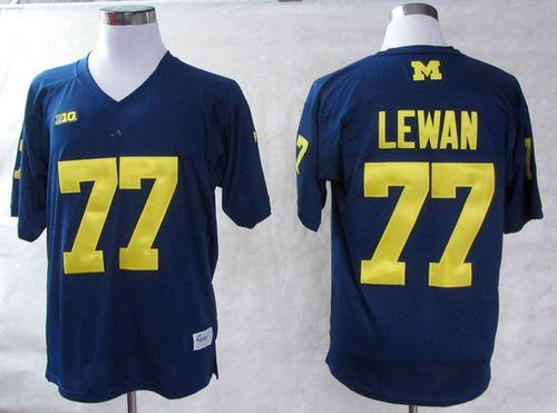 Wolverines #77 Taylor Lewan Blue Big 10 Patch Stitched NCAA Jersey