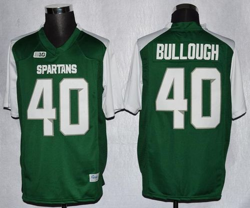 Spartans #40 Max Bullough Green/White Stitched NCAA Jersey