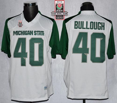 Spartans #40 Max Bullough White/Green 2014 Rose Bowl Patch Stitched NCAA Jersey