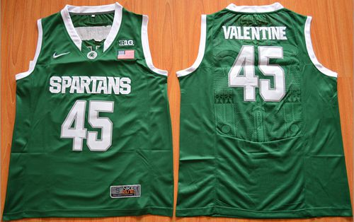 Spartans #45 Denzel Valentine Green Authentic Basketball Stitched NCAA Jersey