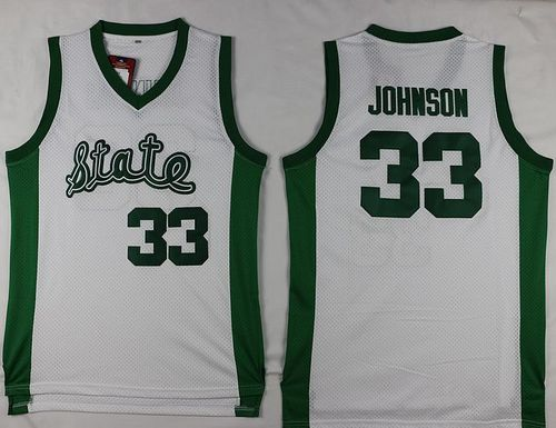 Spartans #33 Magic Johnson White Throwback Basketball Stitched NCAA Jersey