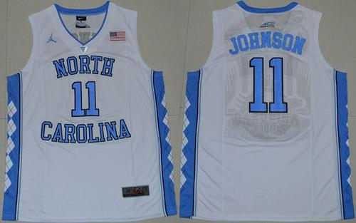 North Carolina #11 Brice Johnson White Basketball Stitched NCAA Jersey