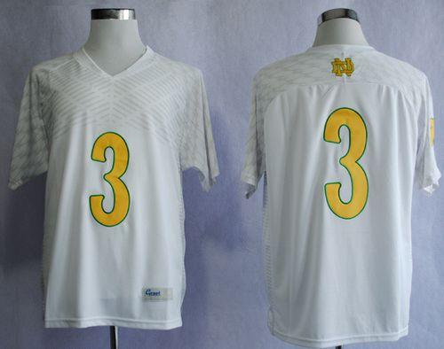 Fighting Irish #3 Joe Montana White Shamrock Series Stitched NCAA Jersey