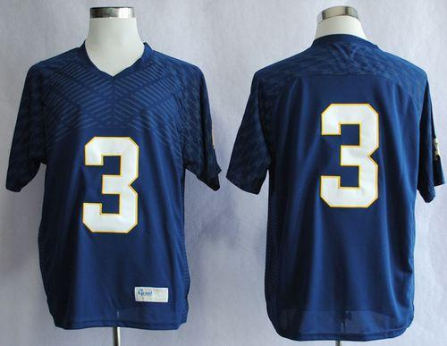 Fighting Irish #3 Joe Montana Navy Blue Stitched NCAA Jersey