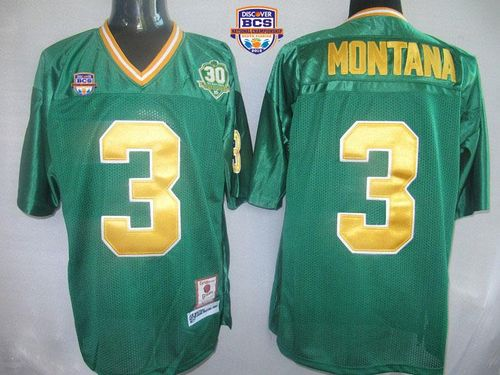 Dame #3 Joe Montana Green With 30TH Patch 2013 BCS National Championship Stitched NCAA Jersey