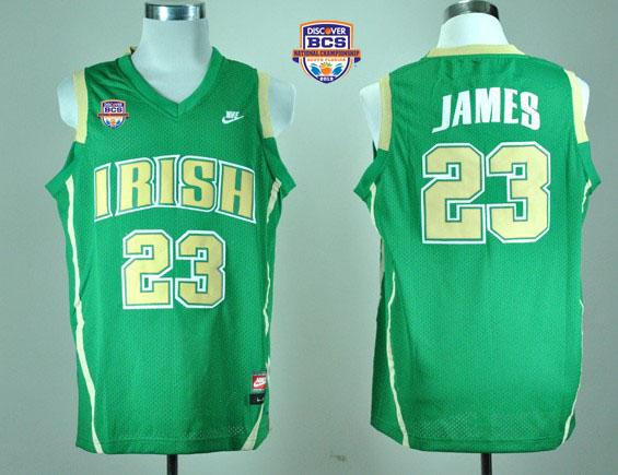 Fighting Irish #23 Lebron James Green Basketball 2013 BCS National Championship Stitched NCAA Jersey