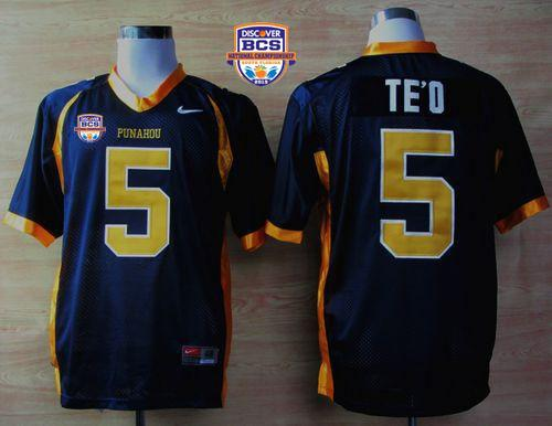 Fighting Irish #5 Manti Te'o Navy Blue Punahou High School 2013 BCS National Championship Stitched NCAA Jersey