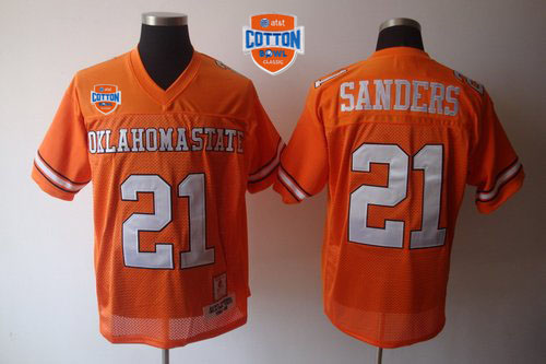 Cowboys #21 Barry Sanders Orange Throwback 2014 Cotton Bowl Patch Stitched NCAA Jersey