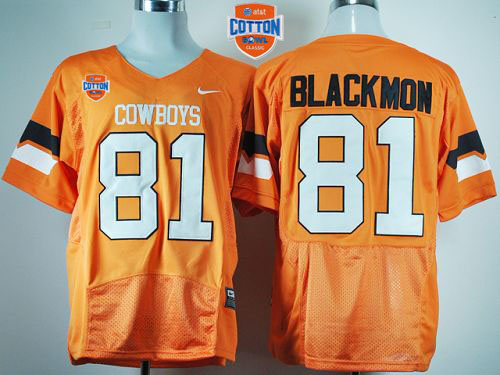 Cowboys #81 Justin Blackmon Orange Pro Combat 2014 Cotton Bowl Patch Stitched NCAA Jersey