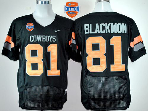 Cowboys #81 Justin Blackmon Black Pro Combat 2014 Cotton Bowl Patch Stitched NCAA Jersey