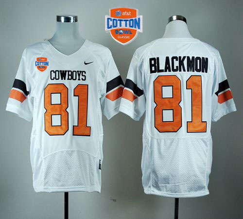 Cowboys #81 Justin Blackmon White Pro Combat 2014 Cotton Bowl Patch Stitched NCAA Jersey