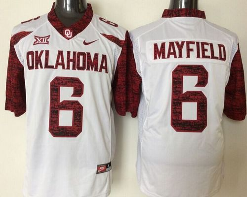 Sooners #6 Baker Mayfield White New XII Stitched NCAA Jersey