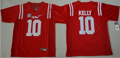 Rebels #10 Chad Kelly Red Stitched NCAA Jersey