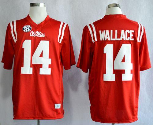 Rebels #14 Bo Wallace Red Stitched NCAA Jersey