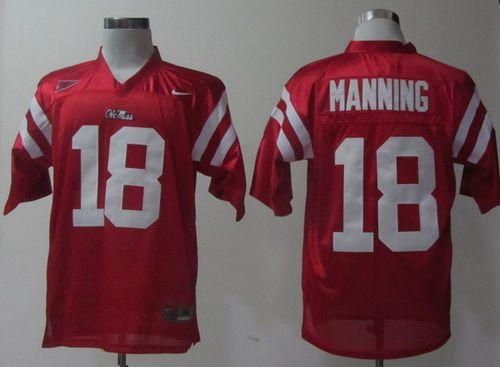 Rebels #18 Archie Manning Red Stitched NCAA Jersey
