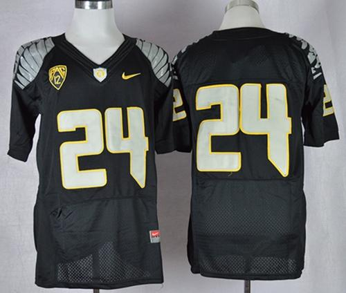 Ducks #24 Thomas Tyner Black Elite PAC-12 Patch Stitched NCAA Jersey