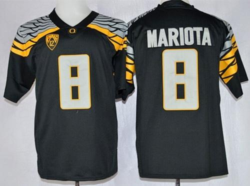Ducks #8 Marcus Mariota Black Mach Speed Limited Stitched NCAA Jersey
