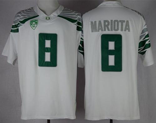 Ducks #8 Marcus Mariota White Mach Speed Limited Stitched NCAA Jersey