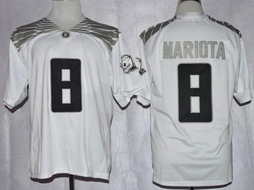 Ducks #8 Marcus Mariota White Diamond Quest Stitched NCAA Jersey