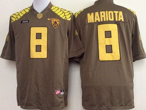Ducks #8 Marcus Mariota Olive Limited Stitched NCAA Jersey