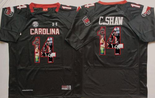 Fighting Gamecocks #14 Connor Shaw Black Player Fashion Stitched NCAA Jersey
