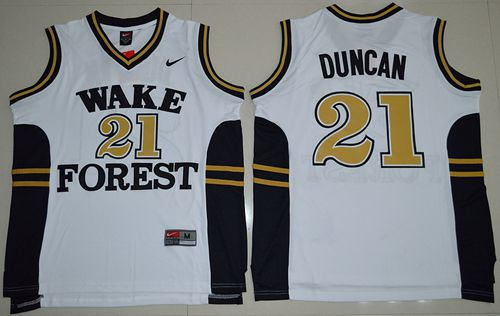 Demon Deacons #21 Tim Duncan White Basketball Stitched NCAA Jersey