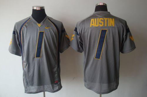 Mountaineers #1 Tavon Austin Grey Stitched NCAA Jersey