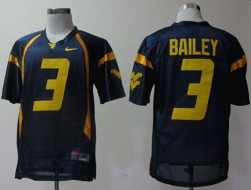 Mountaineers #3 Stedman Bailey Navy Blue Stitched NCAA Jersey