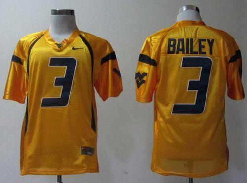 Mountaineers #3 Stedman Bailey Gold Stitched NCAA Jersey