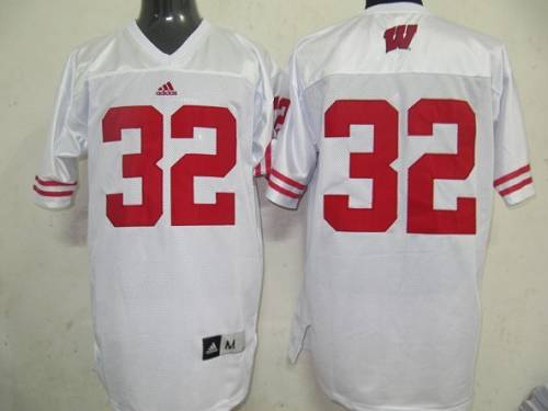 Badgers #32 White Stitched NCAA Jersey