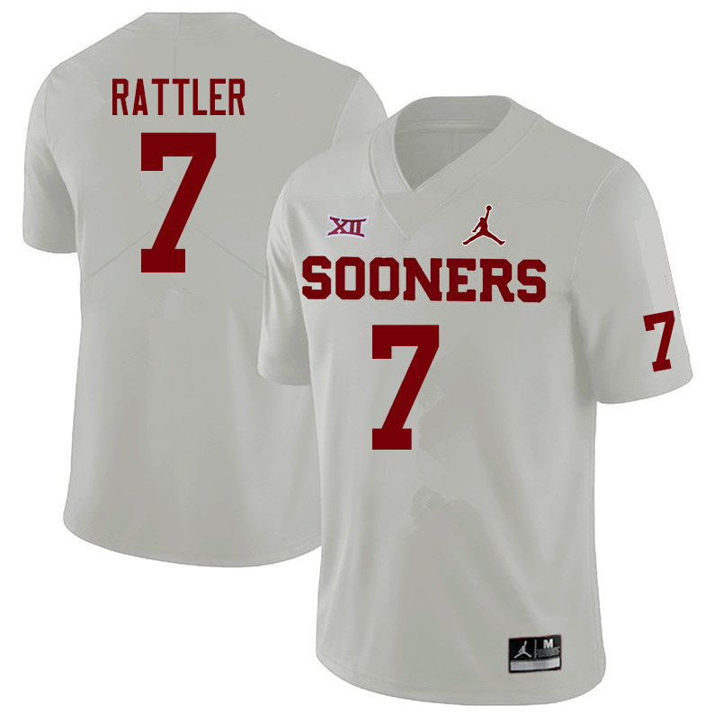 Men's Oklahoma Sooners #7 Spencer Rattler White XII Stitched NCAA Jersey