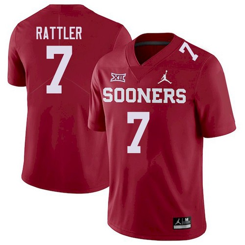 Men's Oklahoma Sooners #7 Spencer Rattler Red XII Stitched NCAA Jersey