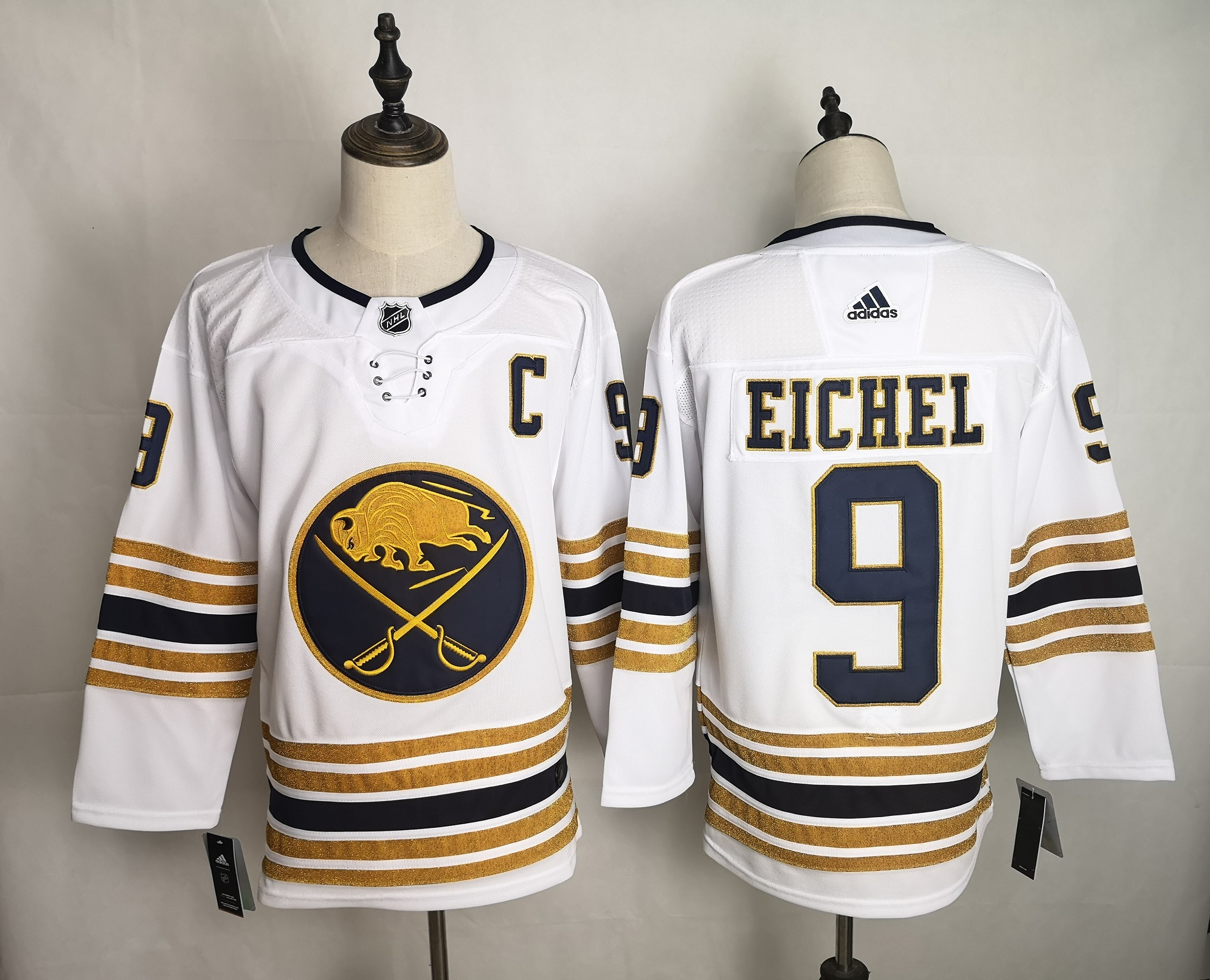 Men's Buffalo Sabres #9 Jack Eichel 2019 White 50th Season Stitched NHL Jersey