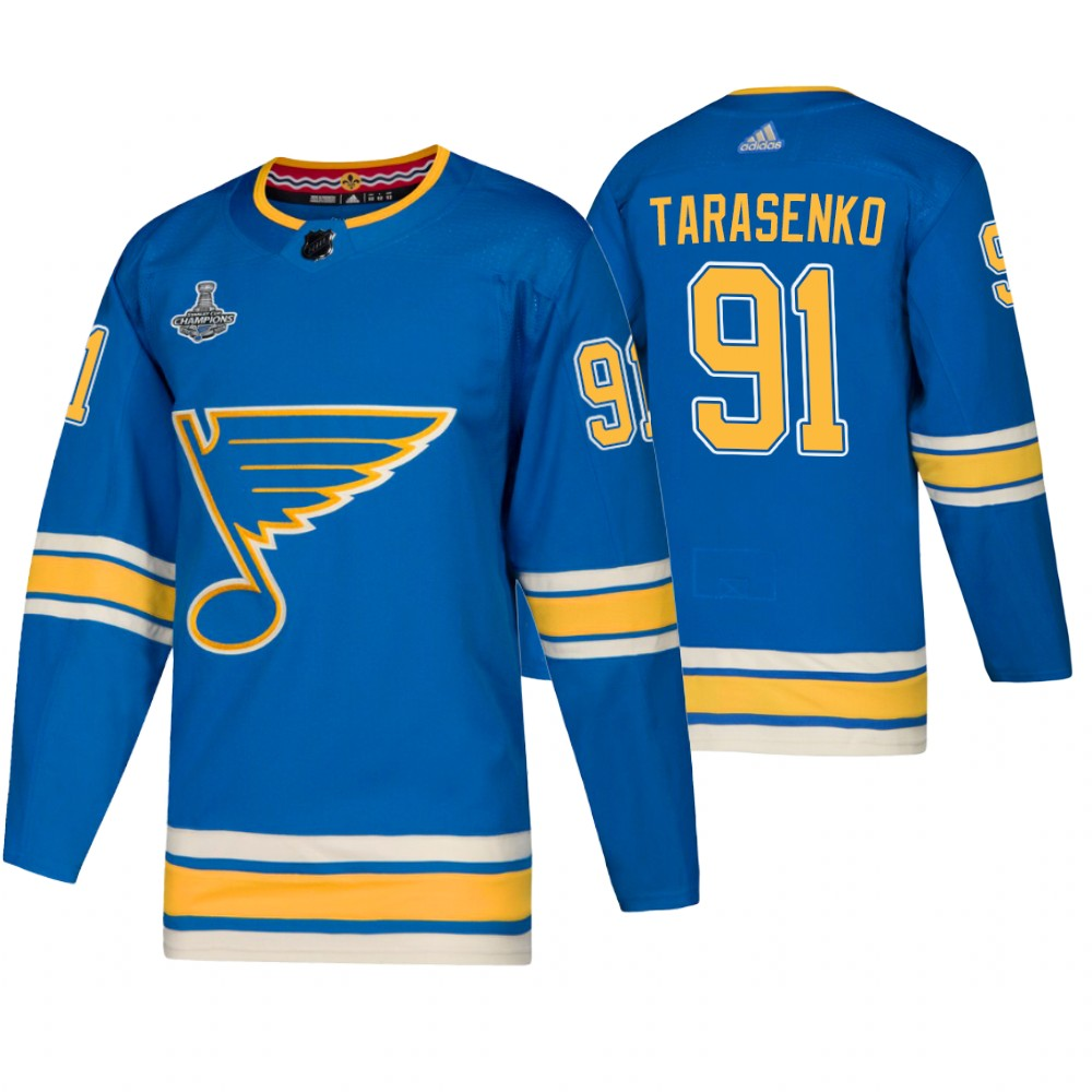 Men's St. Louis Blues #91 Vladimir Tarasenko 2019 Blue Stanley Cup Champions Stitched NHL Jersey