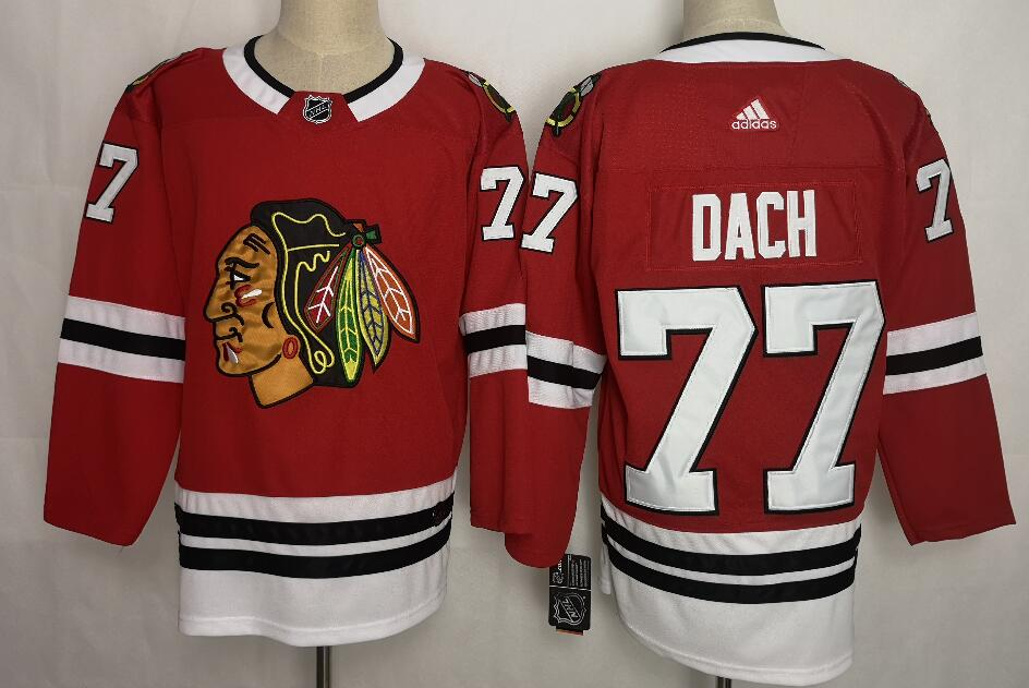 Men's Chicago Blackhawks #77 Kirby Dach Red Throwback CCM Stitched NHL Jersey