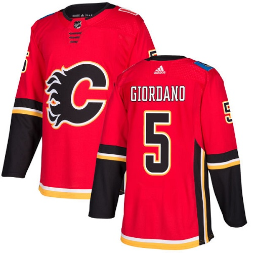 Men's Adidas Calgary Flames #5 Mark Giordano Red Stitched NHL Jersey