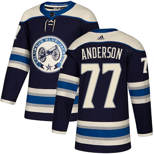 Men's Columbus Blue Jackets #77 Josh Anderson Navy Blue Stitched NHL Jersey