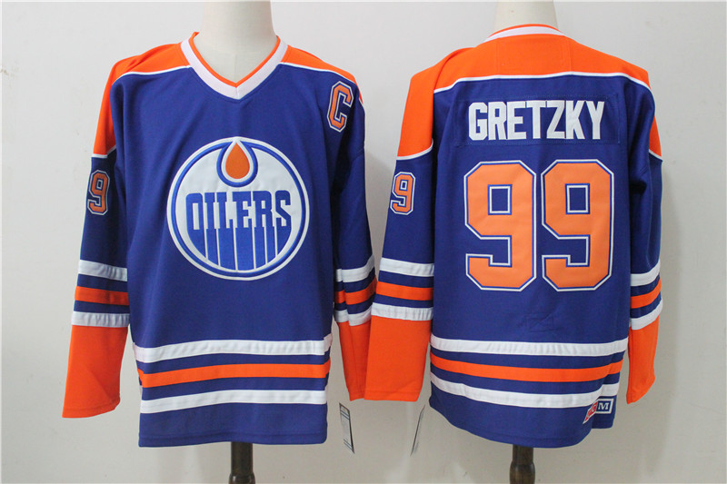 Men's Edmonton Oilers #99 Wayne Gretzky Royal Throwback CCM Stitched NHL Jersey