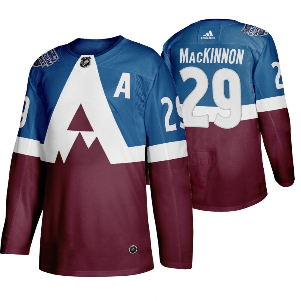 Men's Colorado Avalanche #29 Nathan MacKinnon 2020 Stadium Series Blue Stitched NHL Jersey