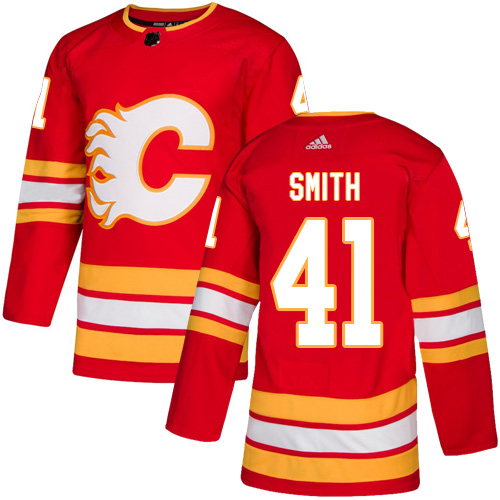 Men's Calgary Flames #41 Mike Smith Red Stitched NHL Jersey